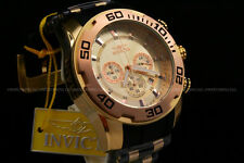Invicta 50MM Scuba Pro Diver 18K Gold Plated Chrono Rose Gold Bezel Strap Watch