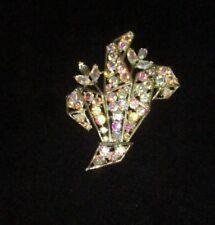 Weiss Signed Pin Brooch Aurora Borealis Rhinestone Crystal Gold Vintage Bin7