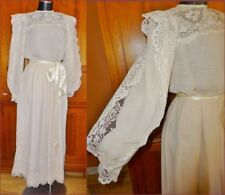 Vtg 70s VICTOR COSTA Sheer Chiffon Lace Wedding Formal Evening Maxi DRESS GOWN
