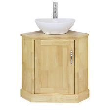 Bathroom Corner Vanity Unit Solid Oak & Oval Wash Basin Ceramic Sink Tap & Plug