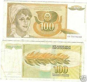 Yougoslavie 1990 100 Dinara Haut Denomination