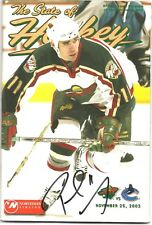 Pascal Dupuis Minnesota Wild Signed Autographed State of Hockey Program