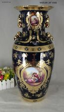 "Limoges Style Floor or Table Vase   in Cobalt Blue & Gold Romance Design -24"""