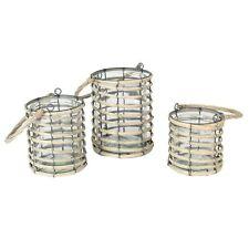 Gray Willow Wrapped Lanterns Set Three Pillar Candle Holder Striped Design Ring