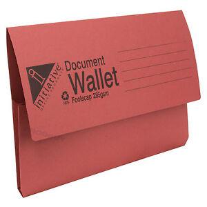 30 x 285gsm Foolscap Cardboard Document Wallets A4 Paper Storage Files Folders