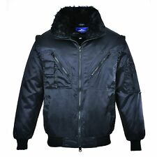Mens Pilot Work Security Winter Jacket, 3in1 Aviator Style, Fur, Portwest UPJ10