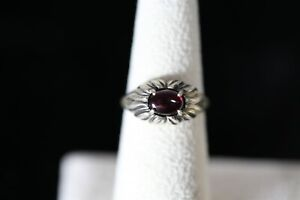 Vintage KABANA ROUND GARNET STERLING SILVER RING Size 7 NEW Jewelry 925