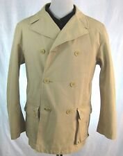 BURBERRY LONDON MENS SZ L BONDED COTTON HONEY PEACOAT MADE IN USA RARE MODEL