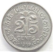 1919 CEYLON, GEORGE V, 25 Cents, grading Good FINE / VERY FINE.