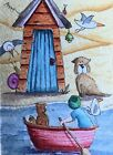 ACEO Contemporary Original Watercolour Painting Beach Hut~Dog~Ladybug~Boat