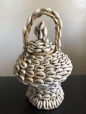 Vintage African Cowrie Shell Lidded Woven Basket Ocean Art Box Storage w Handle