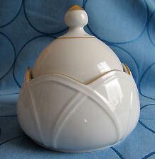 Höchst schöne Bonboniere Deckeldose mit Goldrand  * 12 cm Durchmesser