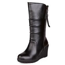 womens faux leather shoes Mid Heel Biker wedges heel ladies Boots plus size 0-15