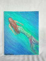 Original Acrylic Painting 8x10 Canvas Board, Mermaid Underwater  Decor Wall  Art