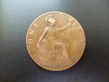 1912 One Penny Coin KING GEORGE THE FIFTH, bronze, Fair état utilisé.