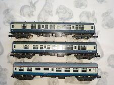 Rake of 3 N Gauge BR Blue Coaches