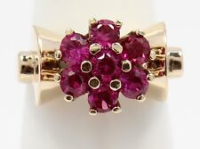10k Yellow Gold Red Stone Ladies Cluster Ring