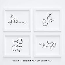 Molecule Drug Wall Art Decor Marijuana Cocaine LSD Ketamine 4 SET 8x10 Prints
