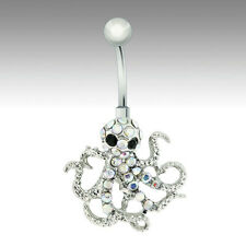 Steel Belly Button Dangle Ring with Octopus Navel Ring Body Jewelry