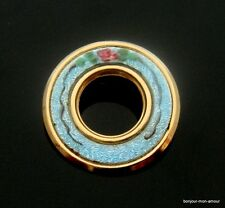Kleine runde, Cloisonne emaillierte shabby Rosen Türkise Brosche, Broche, Brooch