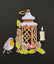 Die Cut Tattered Lace Vintage  Christmas Robin Lamp Card Topper Candle Jars