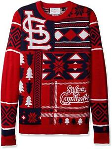 MLB Baseball St. Louis Cardinals Ugly Patches Sweater by KLEW Size Small