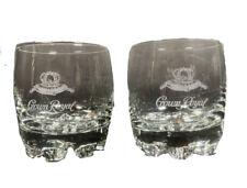 Crown Royal Whiskey Glasses Etched Lo Ball Rocks Barware set of 2 vintage
