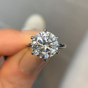 3.85 Ct Round Cut Moissanite Solitaire Engagement Ring In 14k White Gold Plated