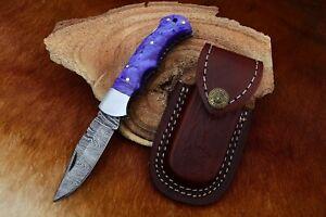 MH KNIVES RARE CUSTOM DAMASCUS STEEL FOLDING/POCKET KNIFE BACK LINER LOCK MH-22F