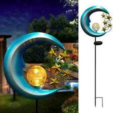 Solar Powered LED Lights Outdoor Garden Moon Crackle Waterproof Light D6T9