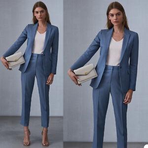 Blue Women 2 Pcs Suits Peak Lapel Business Formal Ladies Tuxedos Slim Fit Custom