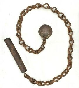 Original 16'C Old Antique Heavy Iron Hand Forged Ball Chain flail Weapon Dagger