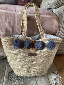 Large Boho Beach Woven Basket Bag Brakeburn Jute Beach Bag Large Size