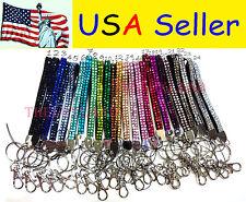 Wholesale lot Rhinestone Bling Crystal Wristlet Lanyard w/ Key Chain Key Holder