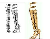 Women Roman Stilettos Heel Over The Knee High Boot Sandal Shoes Gladiator Sandal