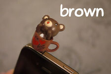 Anti-Dust Earphone Phone Jack Plug: Coffee Bears Brown (Iphone Ipad Android)