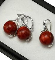 925 Sterling Silver Earrings Gemstone - Red Coral, Black Onyx, Quartz - 27mm