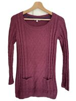 Fat Face 10 Maroon Jumper Dress Cable Knit Tunic Pocket Delail