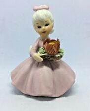 Vintage! German Bisque Porcelain Figurine Girl with Flower ~ 3'' Tall ~ C-8614