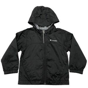 Columbia Boys Rain Jacket Black Hooded Full Zip Lightweight Size 4T