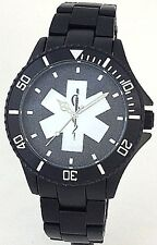 BLACK ALUMINUM EMT/EMS WATCH - STAR OF LIFE MEDALLION DIAL - NEW