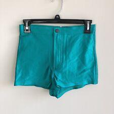 American Apparel Women's Size Medium Green Disco Shorts High Rise Shiny Spandex