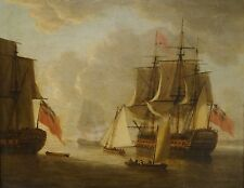 18th Century British Naval Ships Coastal Man-O-War Antique Marine Oil Painting