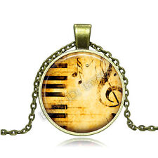 Vintage Piano musical note Cabochon Bronze Glass Chain Pendant Necklace BA088