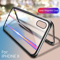 For iPhone XS MAX XR X 6 7 8 Bling Magnetic Absorption Tempered Glass Case Cover