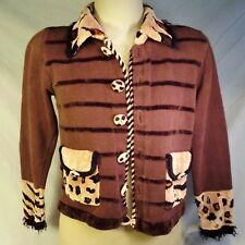 Vtg Jack B Quick Sweater Boho Brown Womens PS Petite  1980s Shoulder Pads