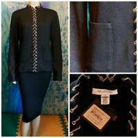 New NWT St. John Collection Knits Black Jacket  L 10 12 Blazer Shimmer Pockets