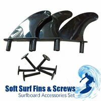 3Pcs Plastic Soft Surf Fins Dorsal Surfboard Thruster Screws Accessories Set