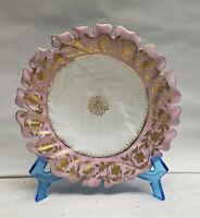 "Antique Royal Vienna Porcelain Carved Gold Encrusted Pink Border 8"" Cookie Plate"