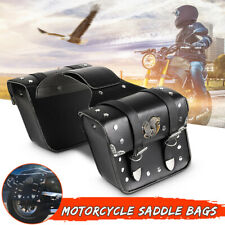 1 Pair Motorcycle Saddle Bags Side Saddlebags Pannier Luggage Storage PU
